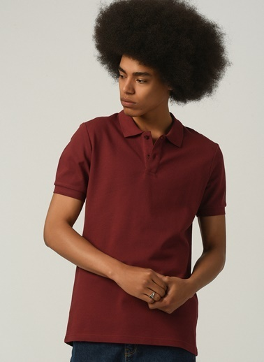 People By Fabrika Erkek Polo Yaka  Tişört PFESS21TS0006 Bordo